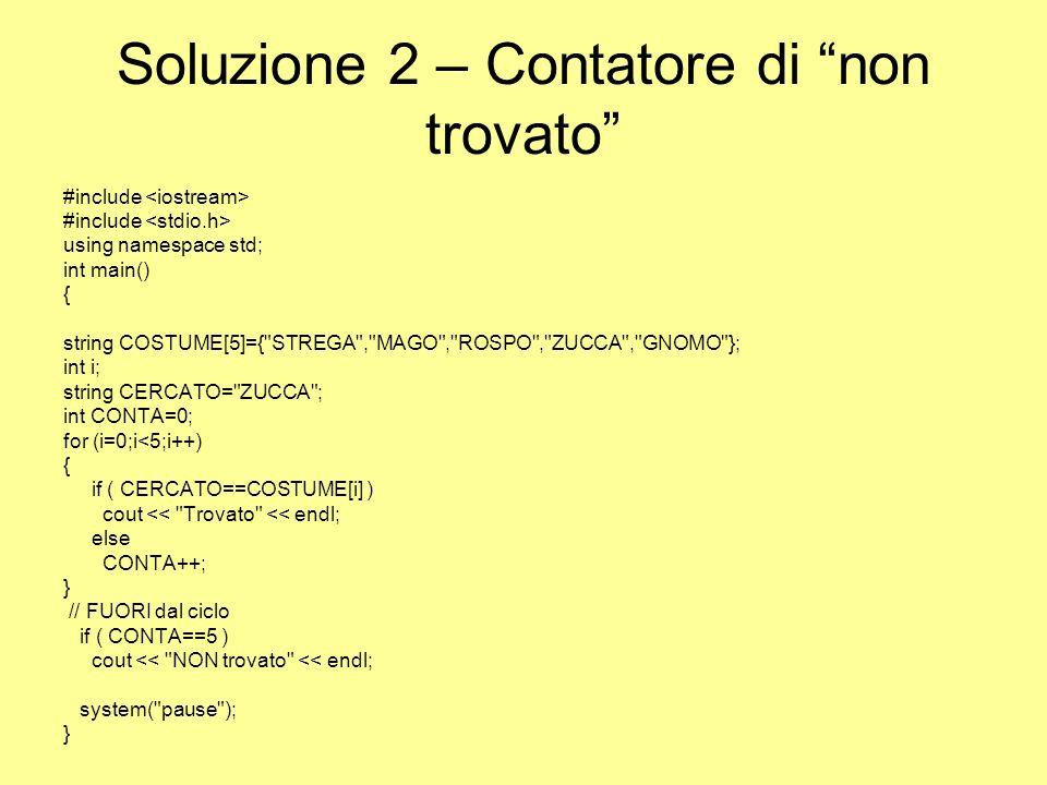 Soluzione 2 – Contatore di non trovato