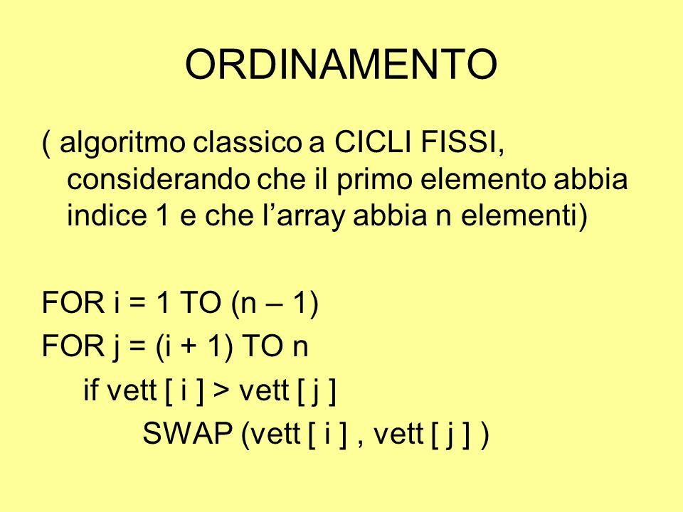 ORDINAMENTO ( algoritmo classico a CICLI FISSI, considerando che il primo elemento abbia indice 1 e che l'array abbia n elementi)
