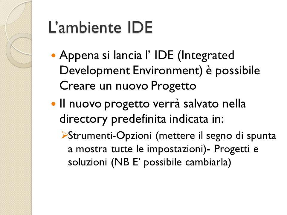 L'ambiente IDE Appena si lancia l' IDE (Integrated Development Environment) è possibile Creare un nuovo Progetto.