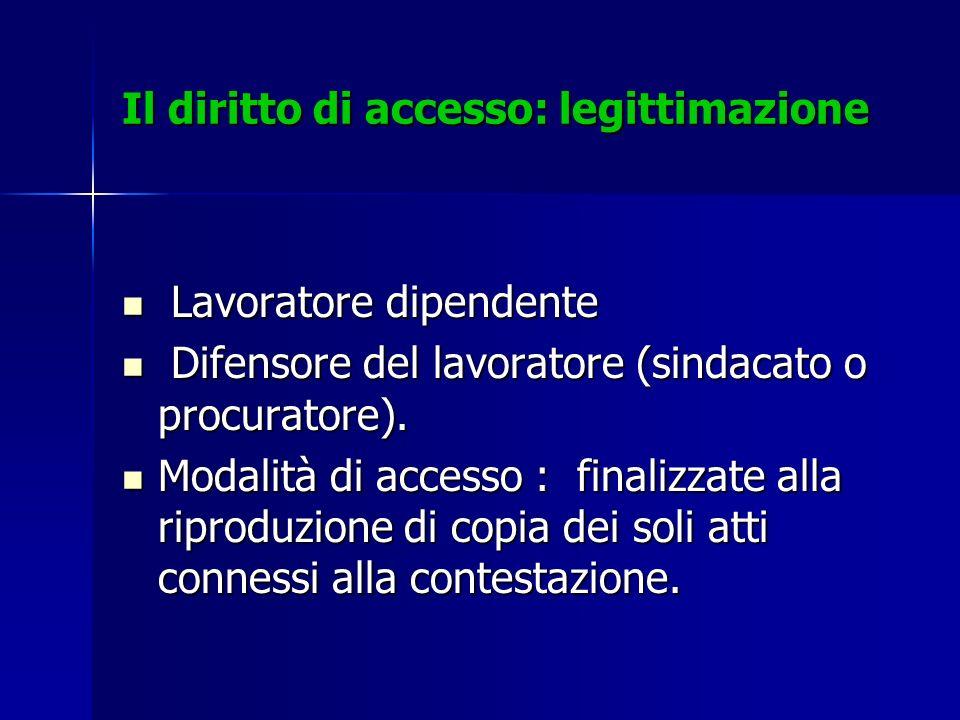 Il diritto di accesso: legittimazione