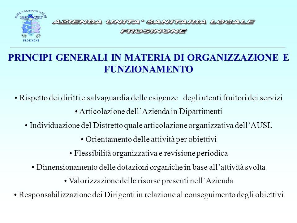 PRINCIPI GENERALI IN MATERIA DI ORGANIZZAZIONE E FUNZIONAMENTO