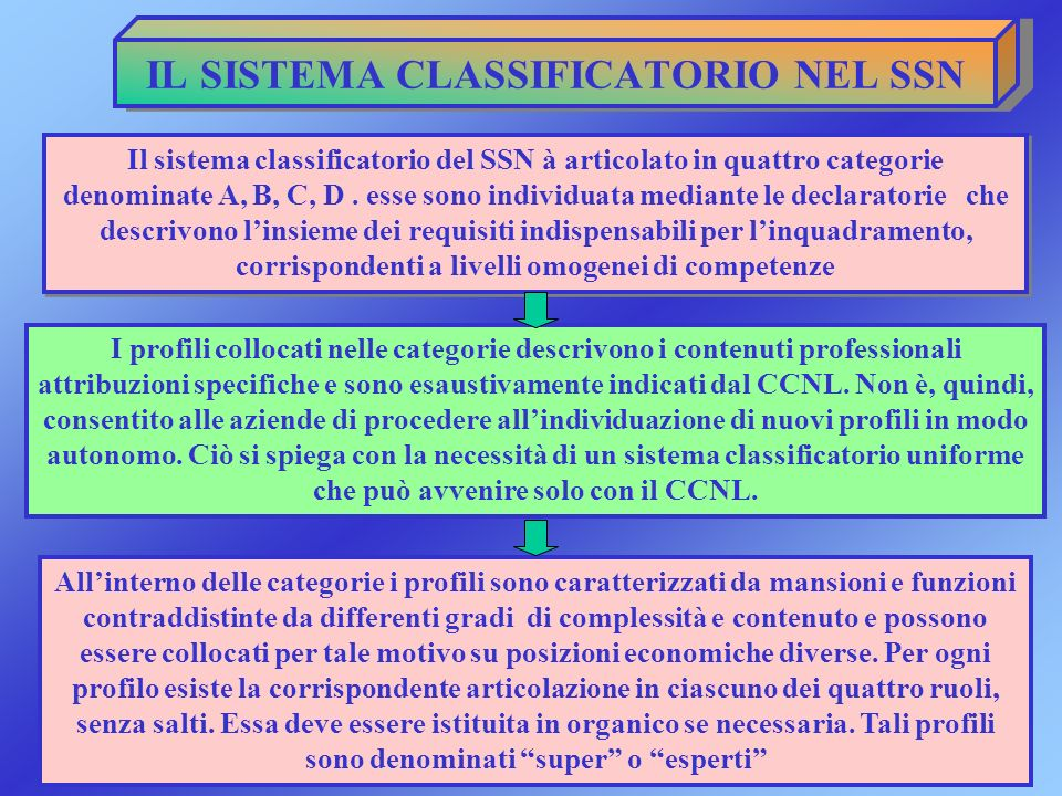 IL SISTEMA CLASSIFICATORIO NEL SSN