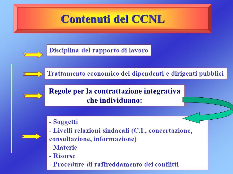 Regole per la contrattazione integrativa che individuano: