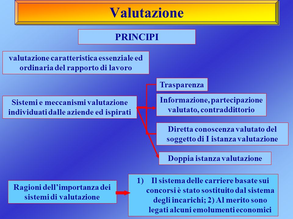 Valutazione PRINCIPI. valutazione caratteristica essenziale ed ordinaria del rapporto di lavoro. Trasparenza.