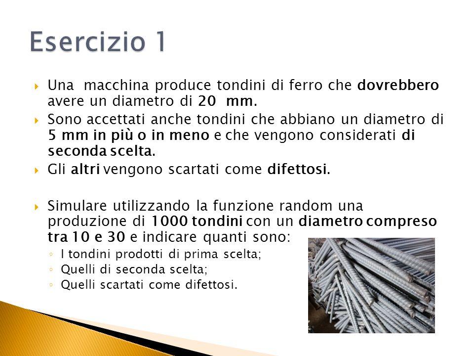 Esercizio 1 Una macchina produce tondini di ferro che dovrebbero avere un diametro di 20 mm.