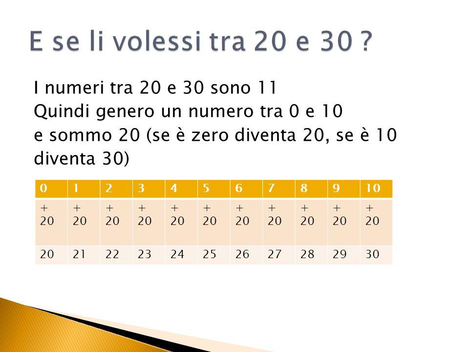E se li volessi tra 20 e 30 I numeri tra 20 e 30 sono 11 Quindi genero un numero tra 0 e 10 e sommo 20 (se è zero diventa 20, se è 10 diventa 30)