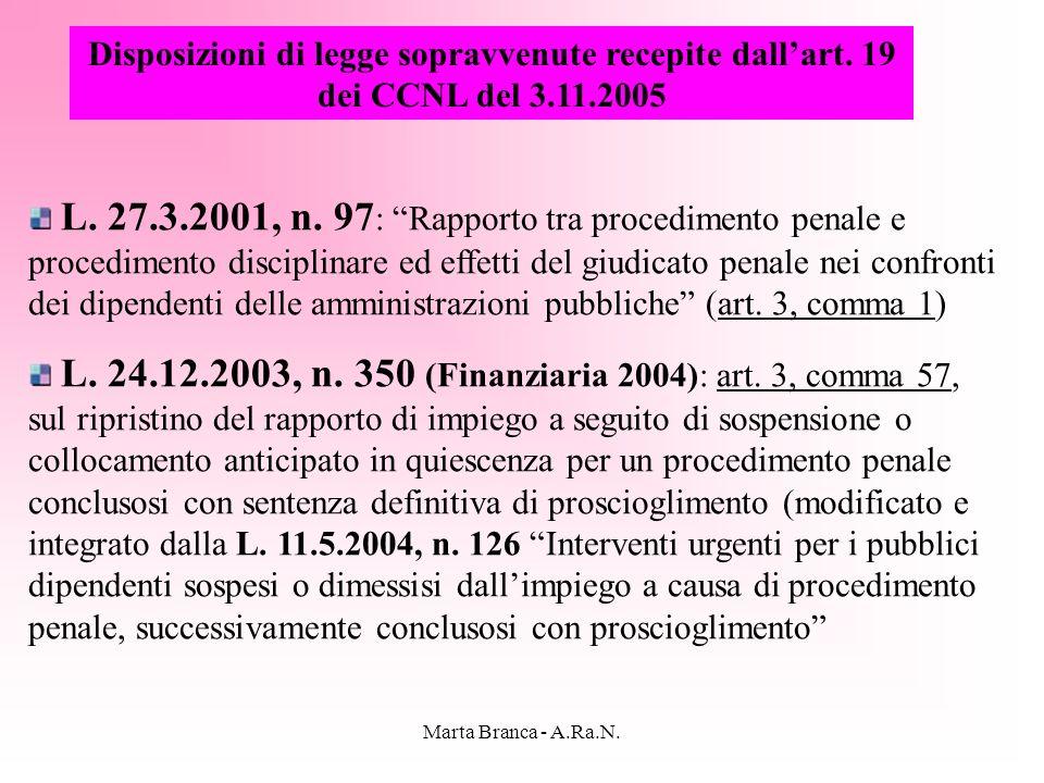 Disposizioni di legge sopravvenute recepite dall'art. 19 dei CCNL del 3.11.2005