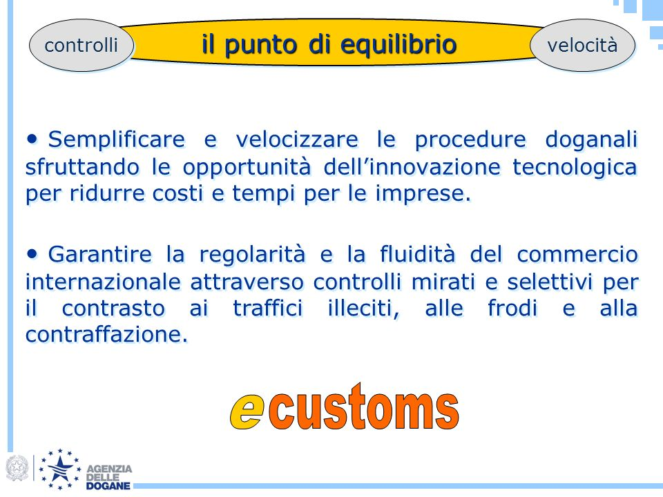 customs e il punto di equilibrio