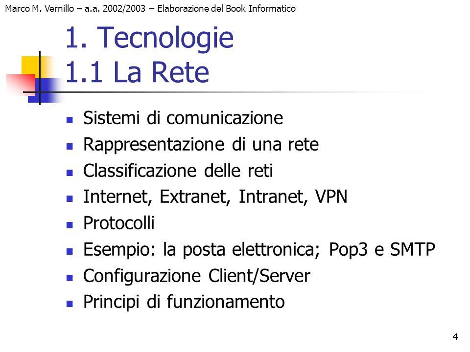1. Tecnologie 1.1 La Rete Sistemi di comunicazione