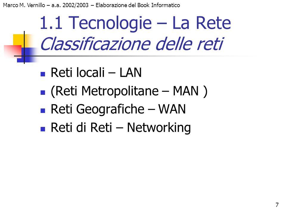 1.1 Tecnologie – La Rete Classificazione delle reti
