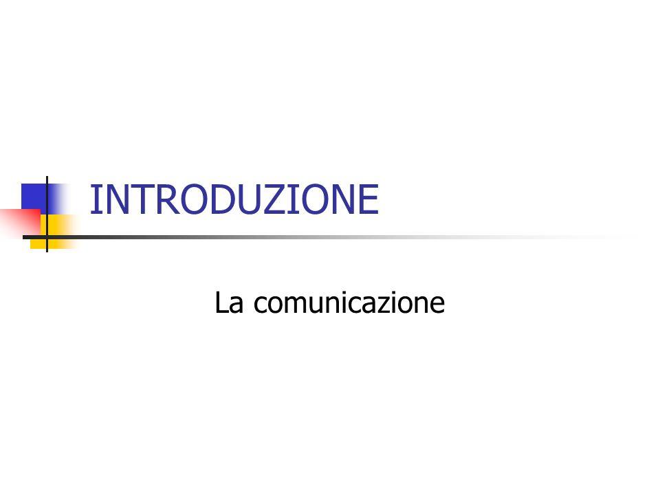 INTRODUZIONE La comunicazione