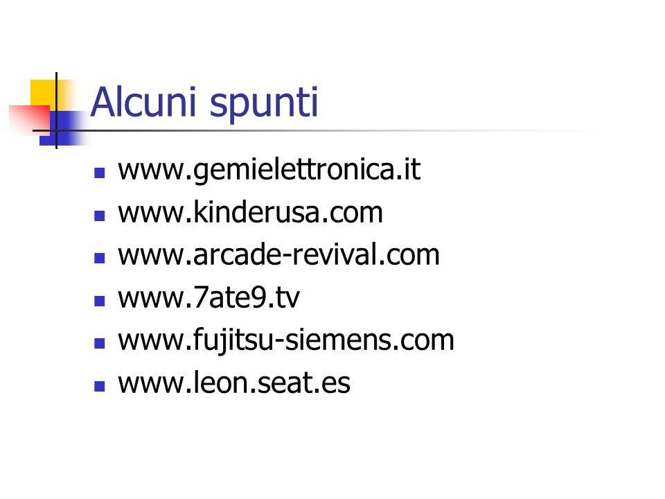 Alcuni spunti www.gemielettronica.it www.kinderusa.com