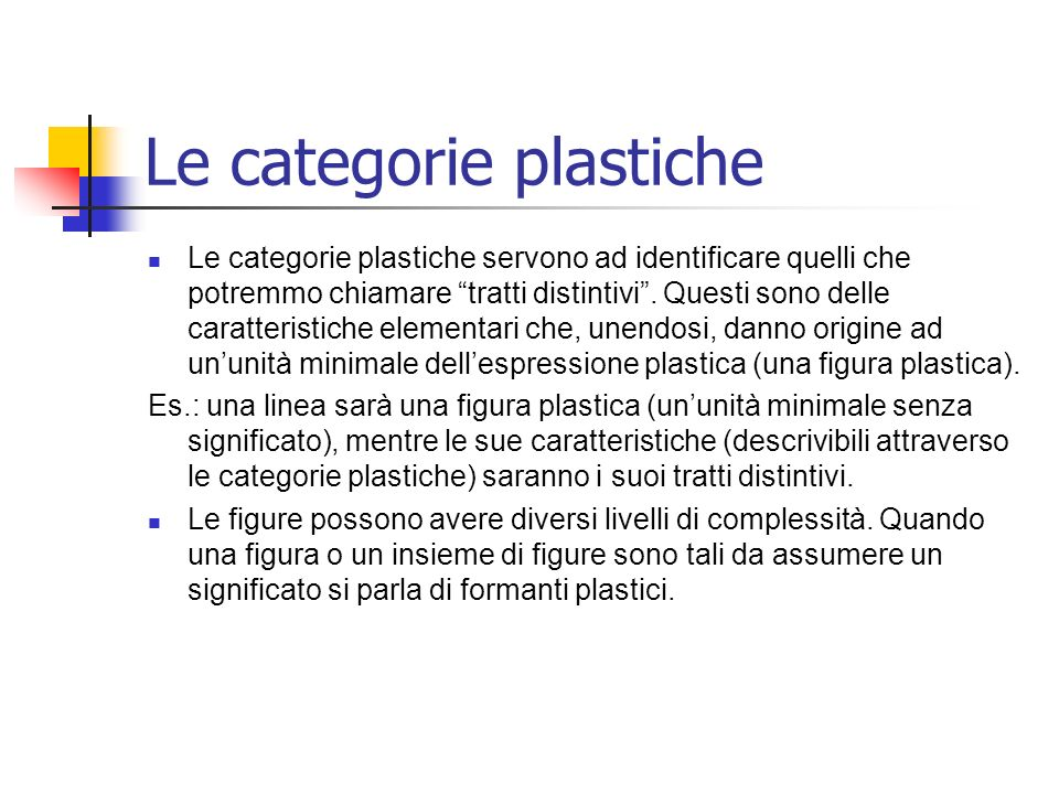Le categorie plastiche