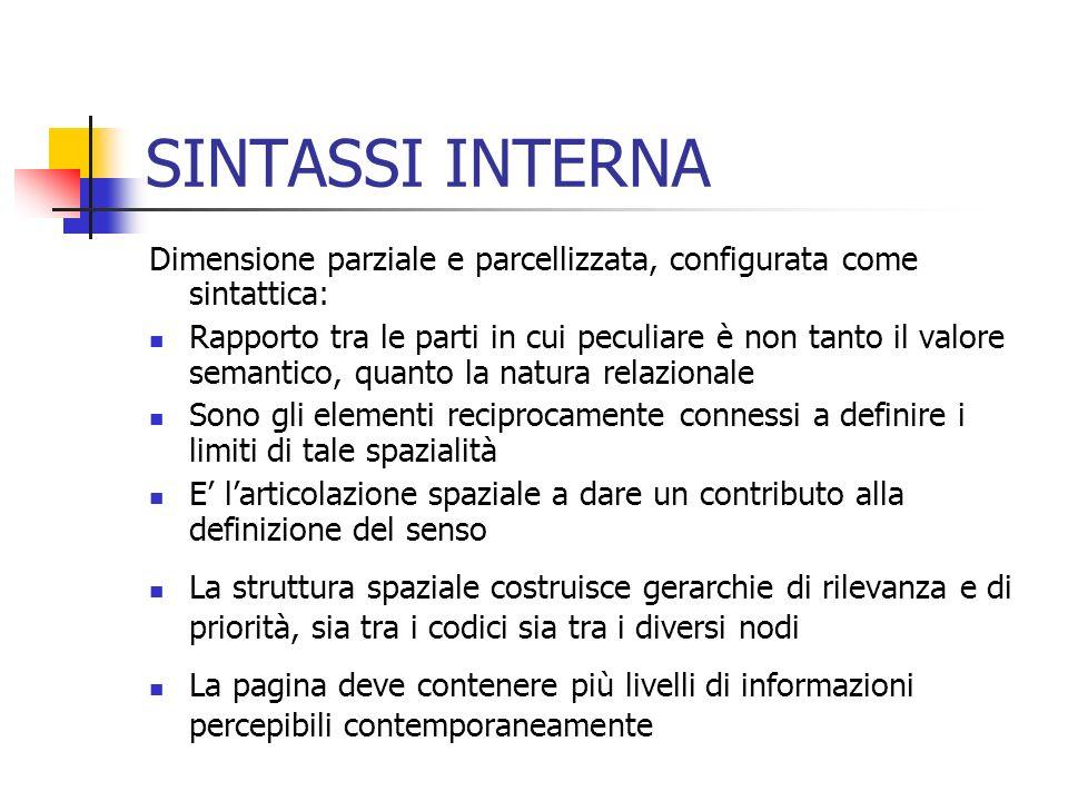 SINTASSI INTERNA Dimensione parziale e parcellizzata, configurata come sintattica: