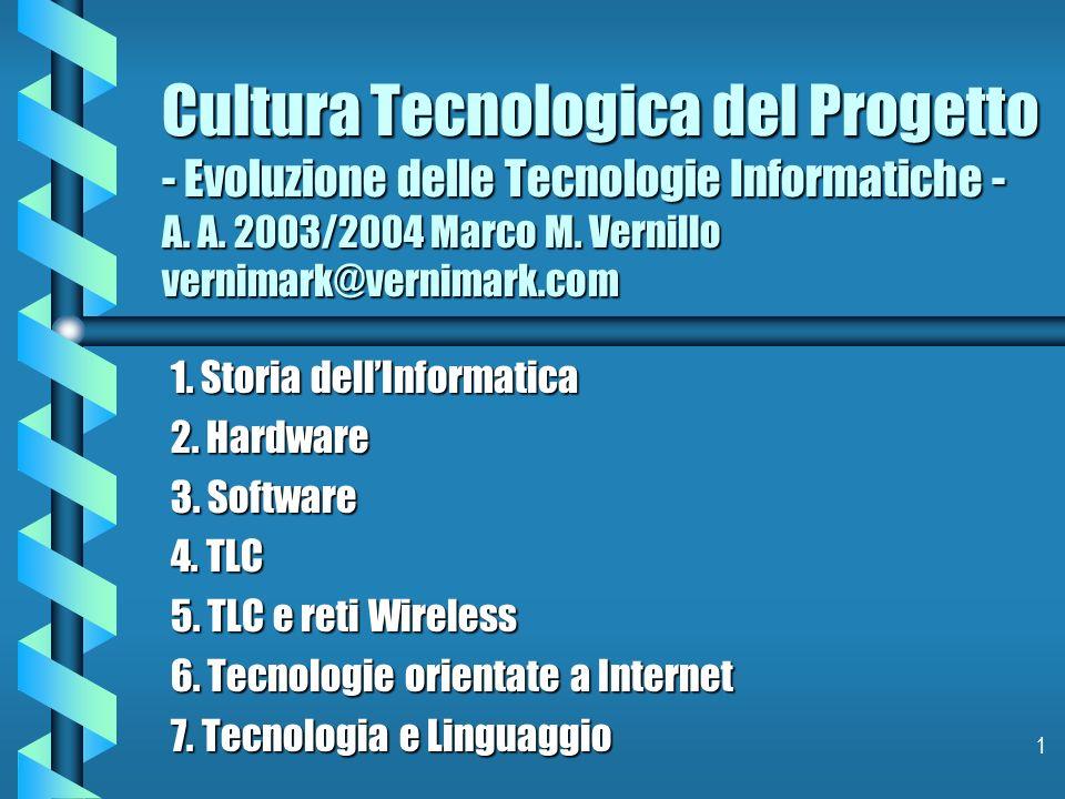 Cultura Tecnologica del Progetto - Evoluzione delle Tecnologie Informatiche - A. A. 2003/2004 Marco M. Vernillo vernimark@vernimark.com