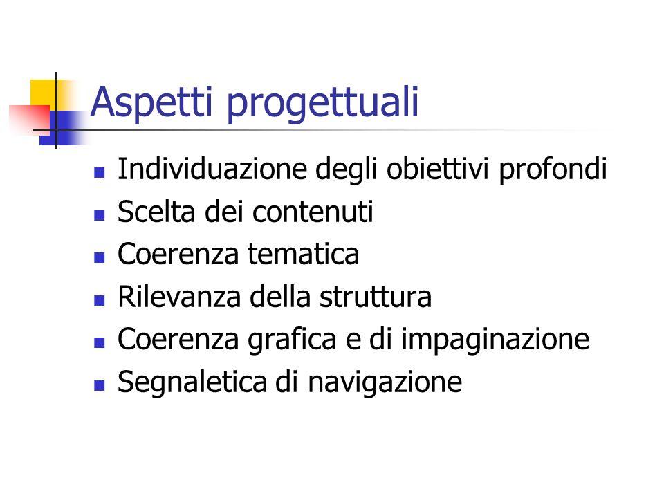 Aspetti progettuali Individuazione degli obiettivi profondi