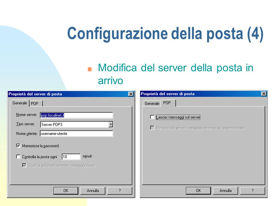 Configurazione della posta (4)