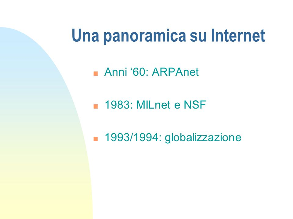 Una panoramica su Internet
