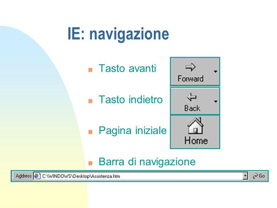 IE: navigazione Tasto avanti Tasto indietro Pagina iniziale