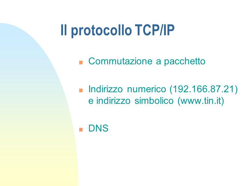 Il protocollo TCP/IP Commutazione a pacchetto
