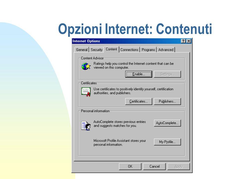 Opzioni Internet: Contenuti
