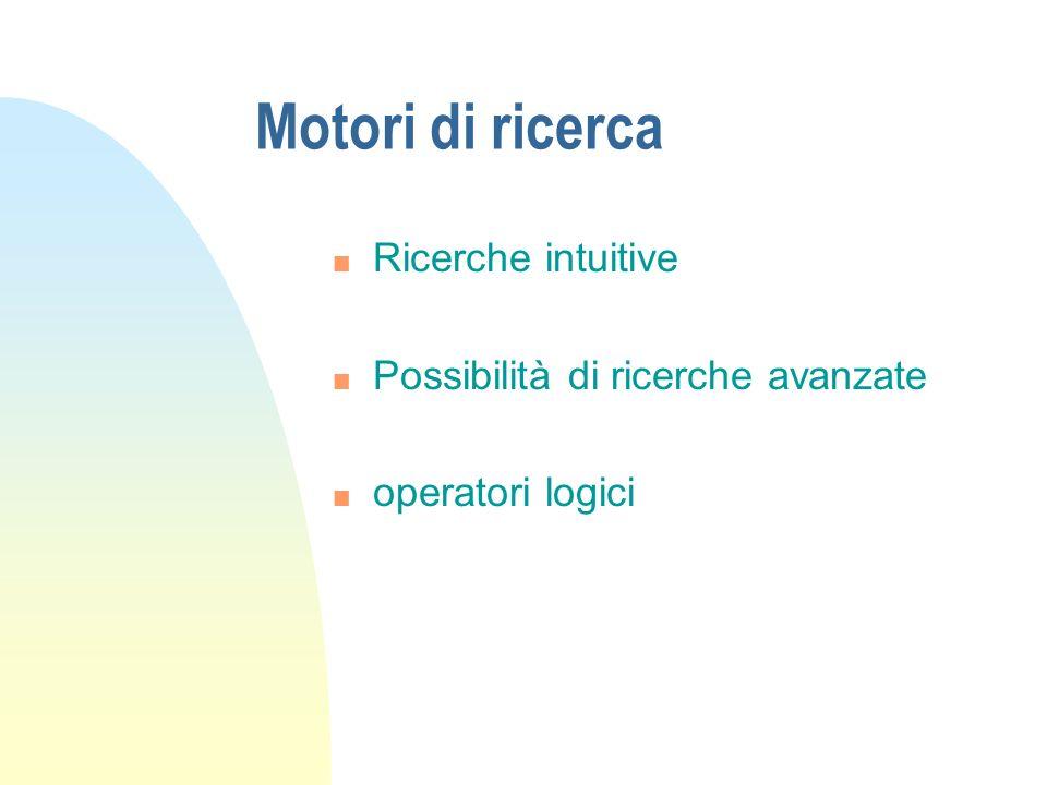 Motori di ricerca Ricerche intuitive Possibilità di ricerche avanzate