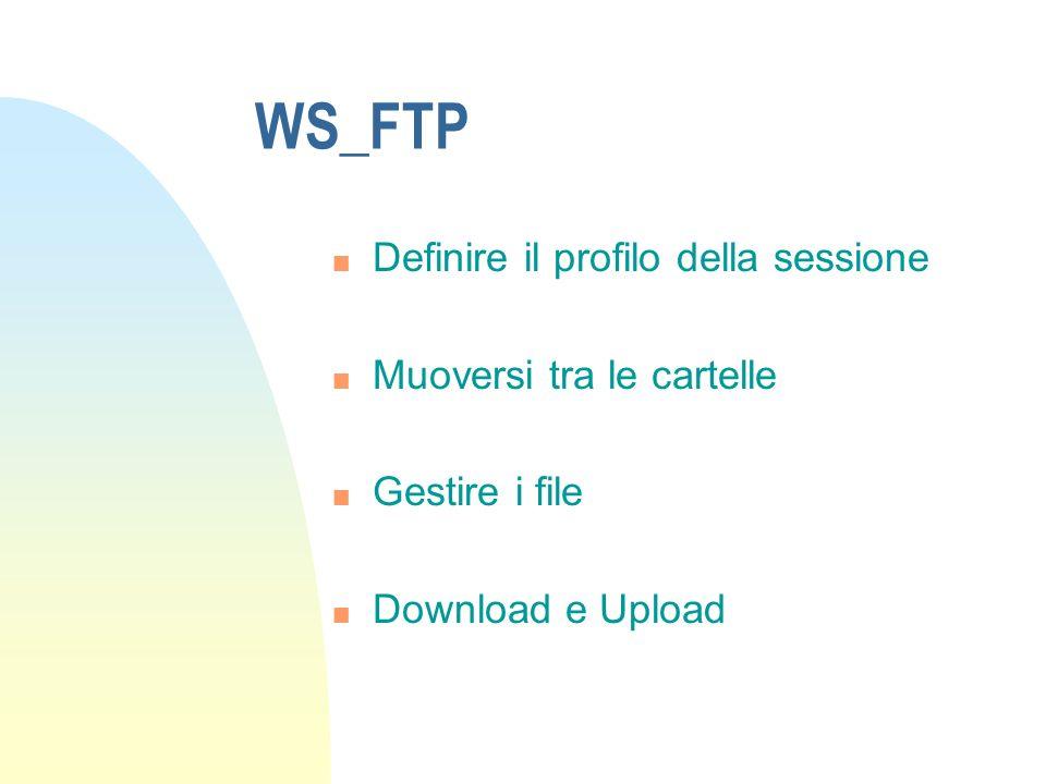 WS_FTP Definire il profilo della sessione Muoversi tra le cartelle