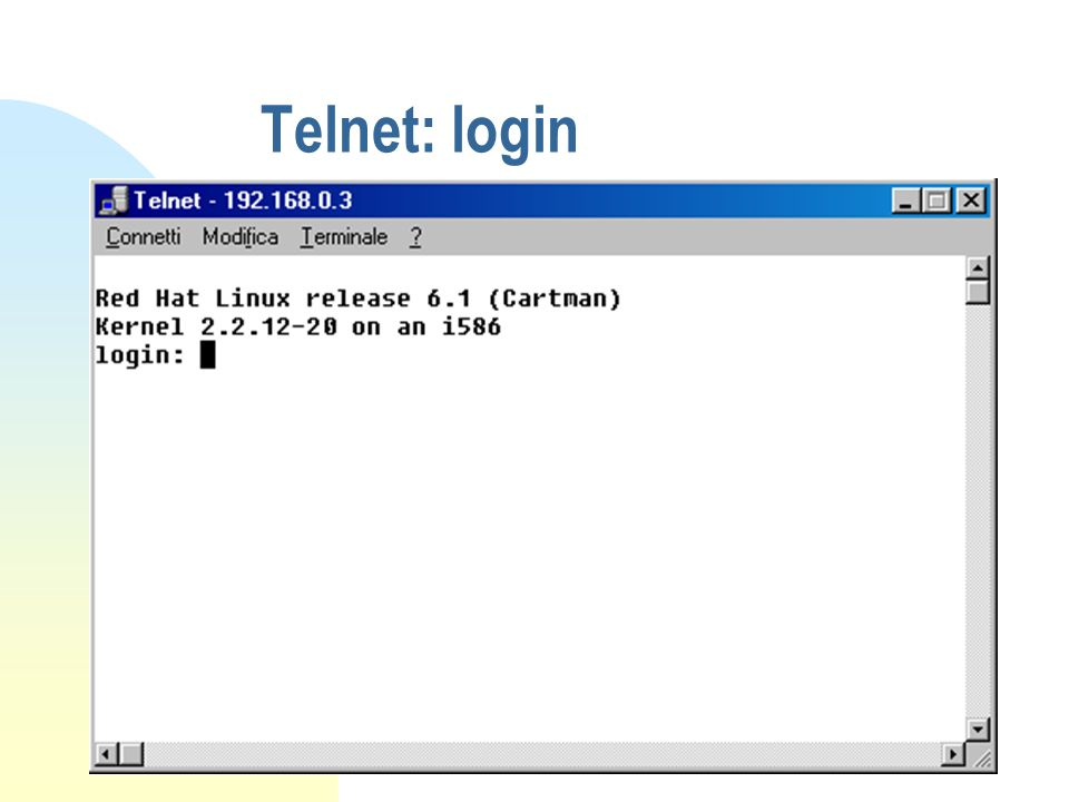 Telnet: login