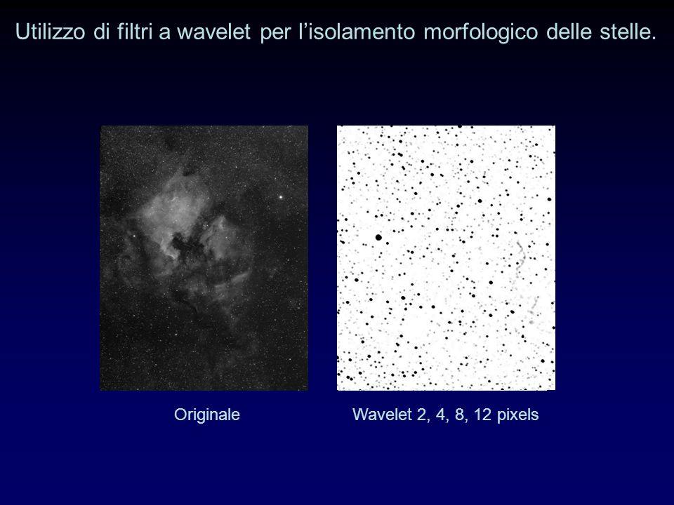 Utilizzo di filtri a wavelet per l'isolamento morfologico delle stelle.