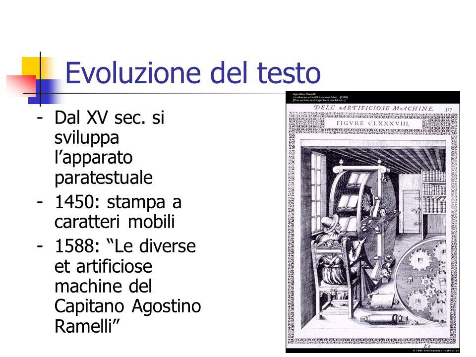 Evoluzione del testo - Dal XV sec. si sviluppa l'apparato paratestuale
