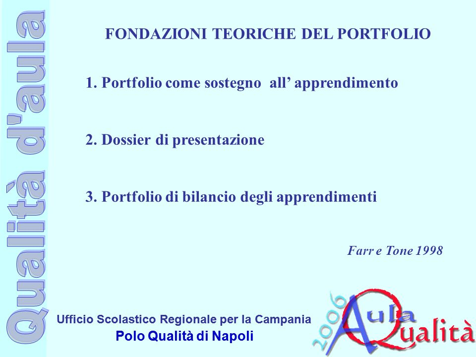 FONDAZIONI TEORICHE DEL PORTFOLIO