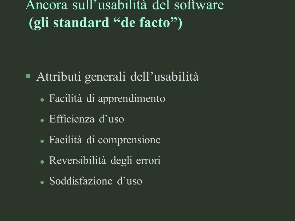 Ancora sull'usabilità del software (gli standard de facto )