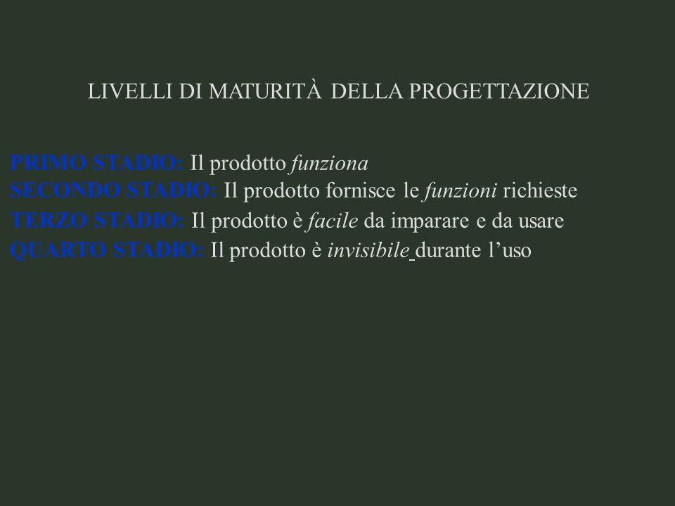LIVELLI DI MATURITÀ DELLA PROGETTAZIONE