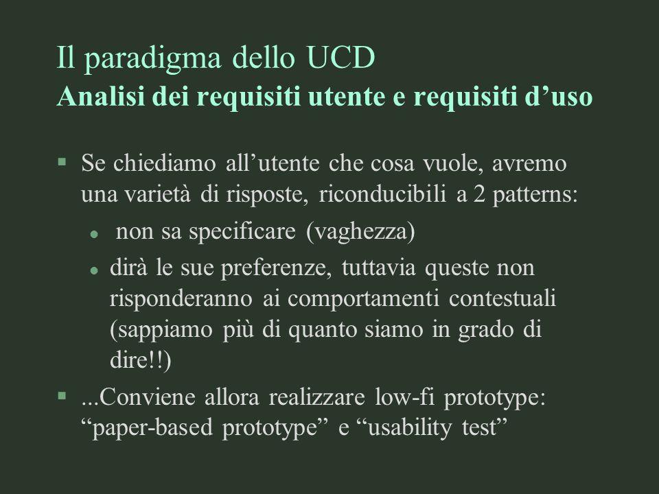Il paradigma dello UCD Analisi dei requisiti utente e requisiti d'uso