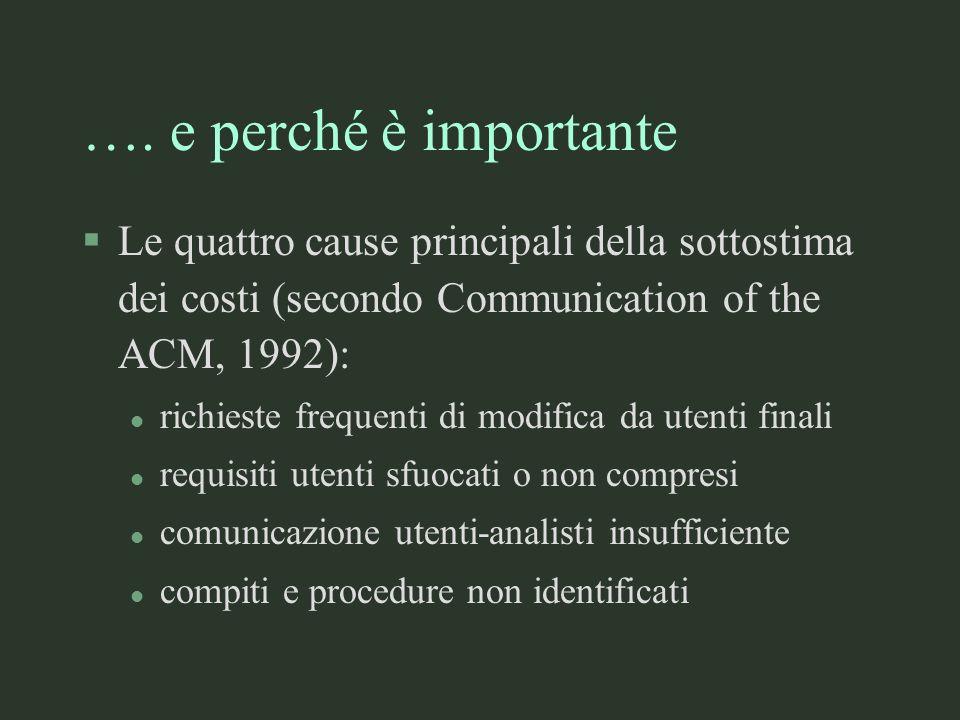 …. e perché è importante Le quattro cause principali della sottostima dei costi (secondo Communication of the ACM, 1992):