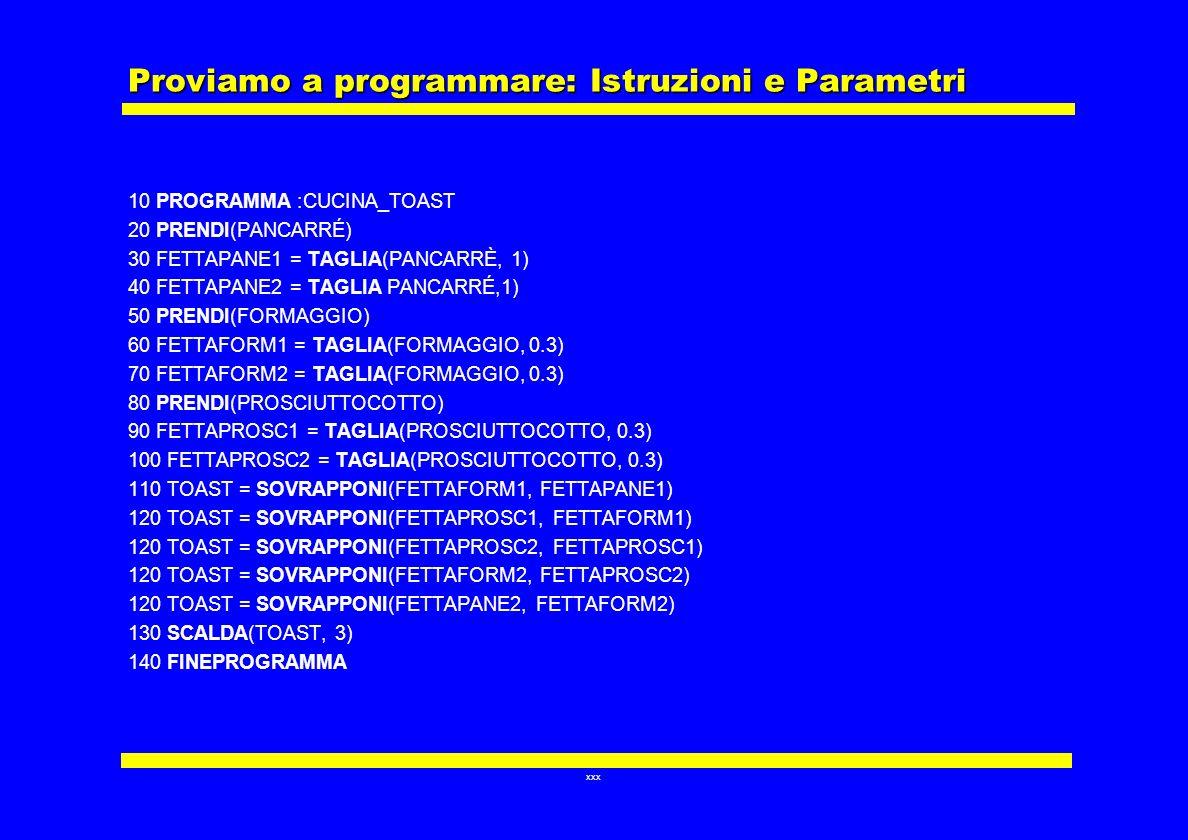 Proviamo a programmare: Istruzioni e Parametri