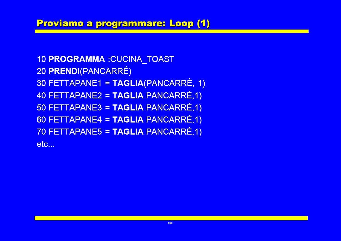Proviamo a programmare: Loop (1)