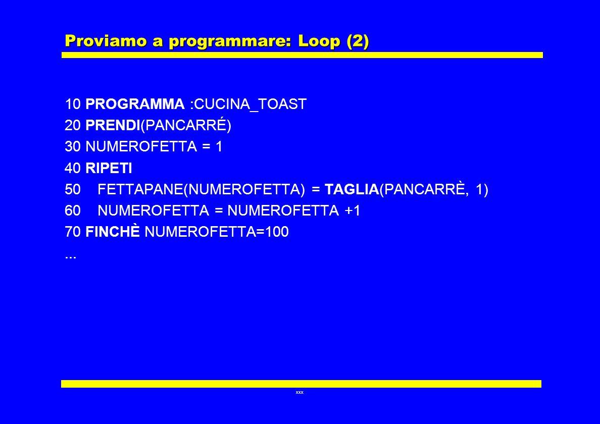 Proviamo a programmare: Loop (2)