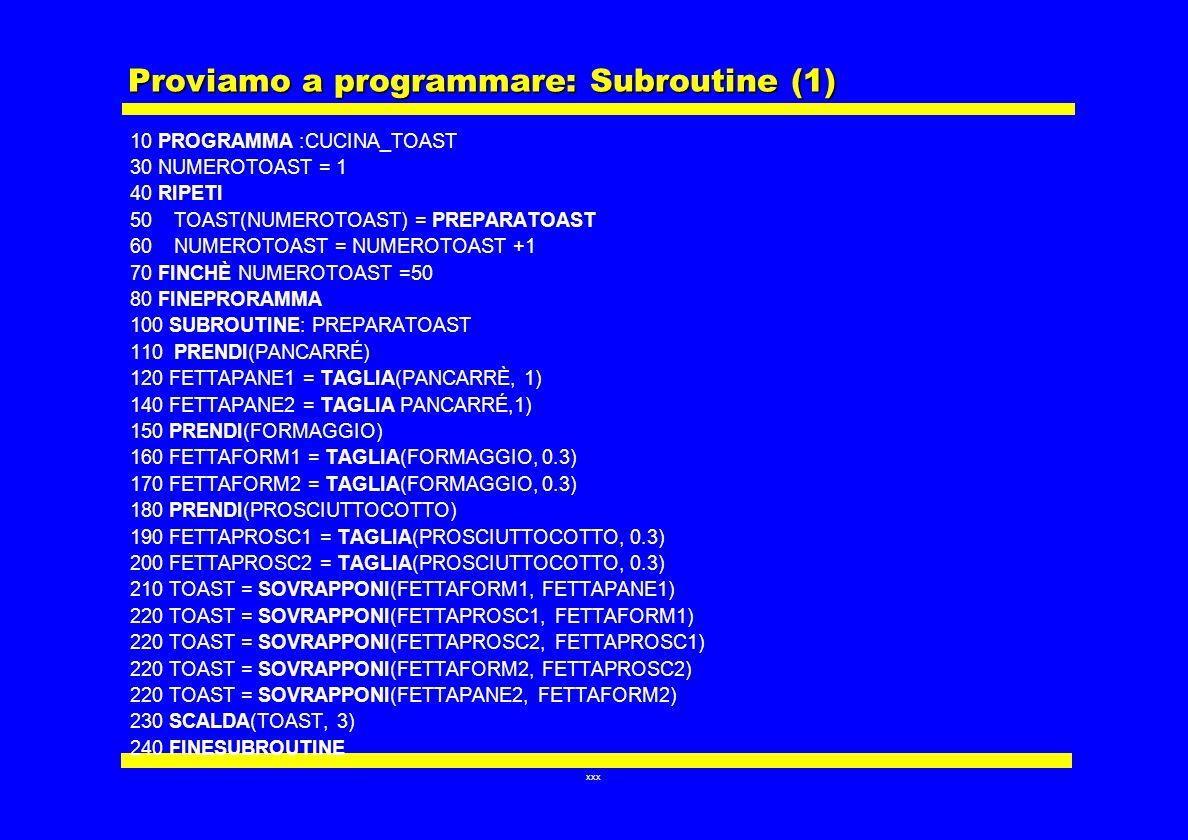 Proviamo a programmare: Subroutine (1)