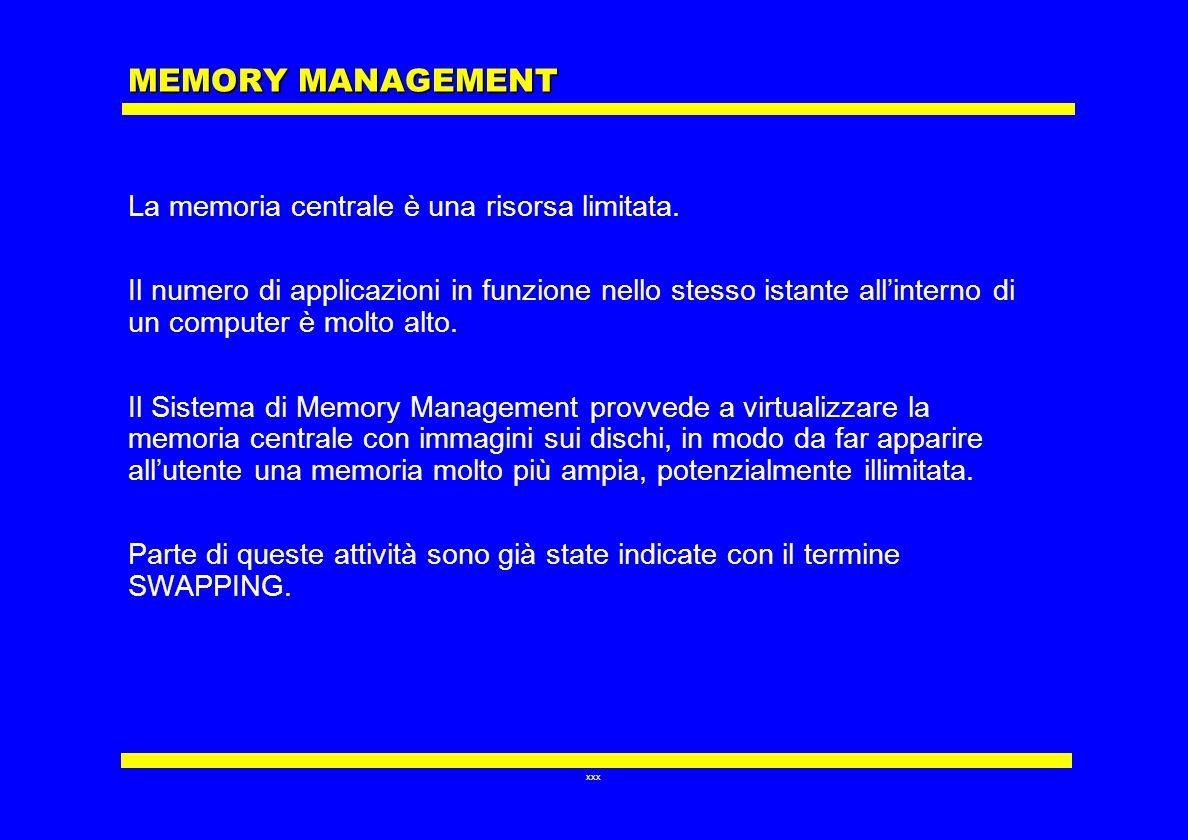 MEMORY MANAGEMENT La memoria centrale è una risorsa limitata.