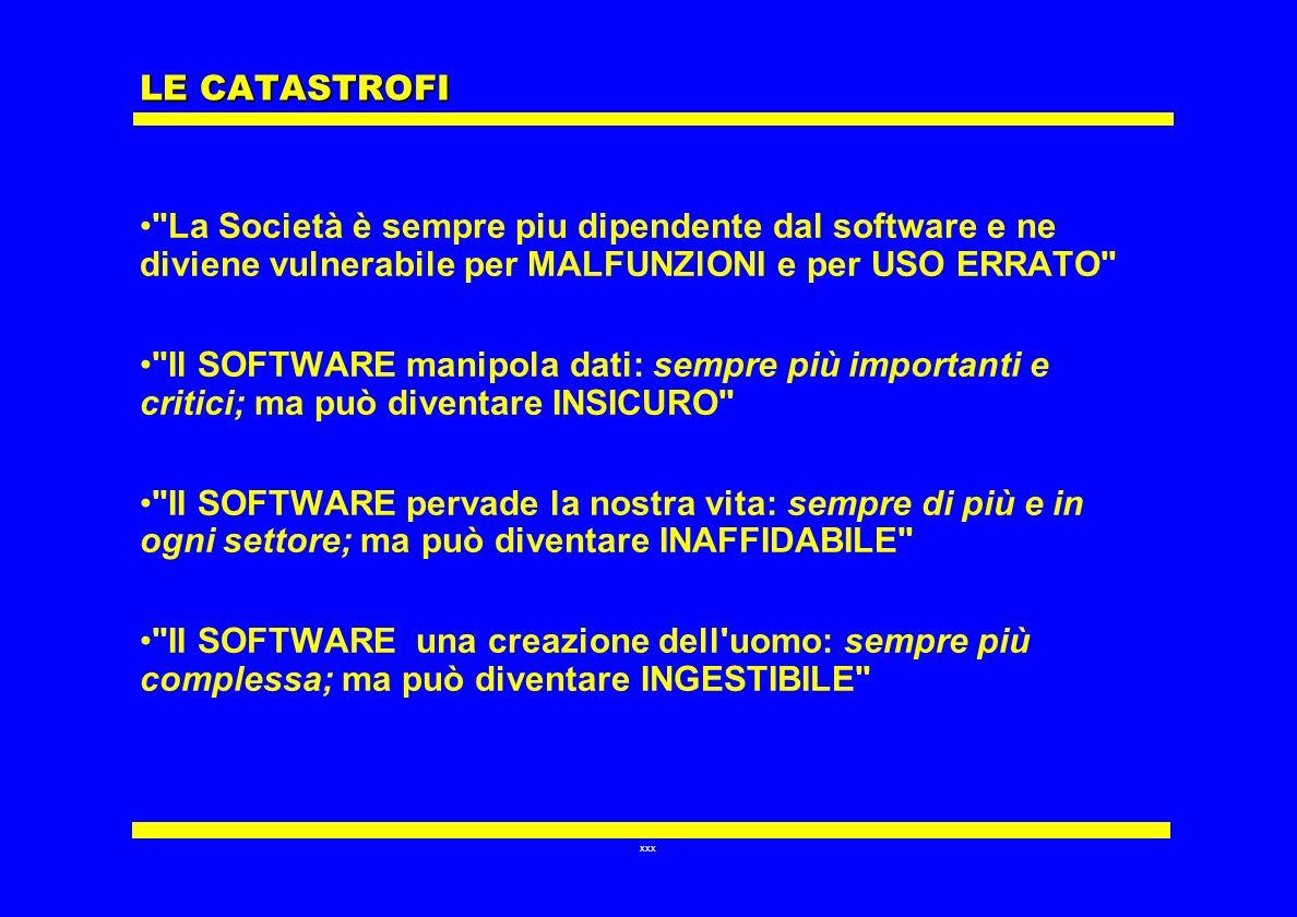 LE CATASTROFI La Società è sempre piu dipendente dal software e ne diviene vulnerabile per MALFUNZlONI e per USO ERRATO