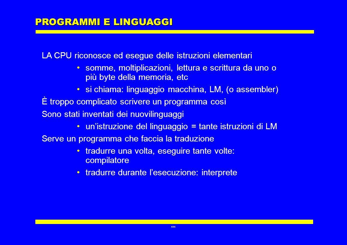 PROGRAMMI E LINGUAGGI LA CPU riconosce ed esegue delle istruzioni elementari.