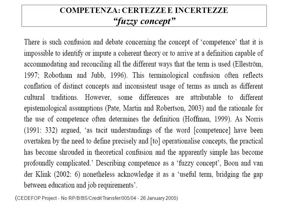 COMPETENZA: CERTEZZE E INCERTEZZE fuzzy concept