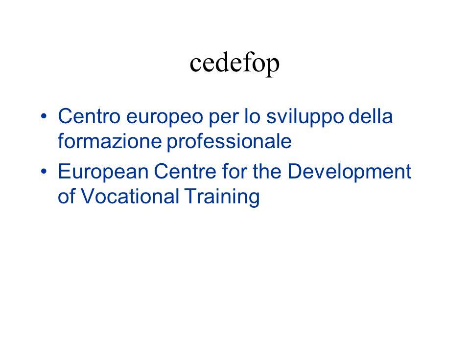cedefop Centro europeo per lo sviluppo della formazione professionale