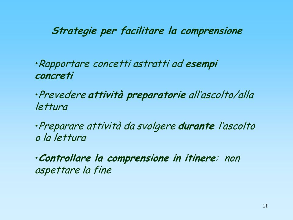 Strategie per facilitare la comprensione