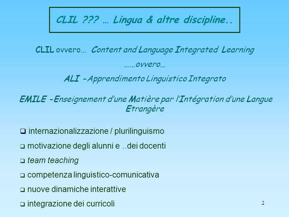 CLIL … Lingua & altre discipline..