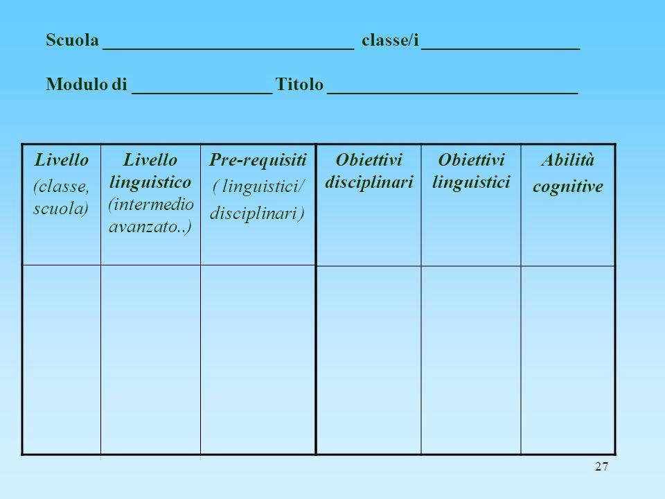 Obiettivi disciplinari Obiettivi linguistici