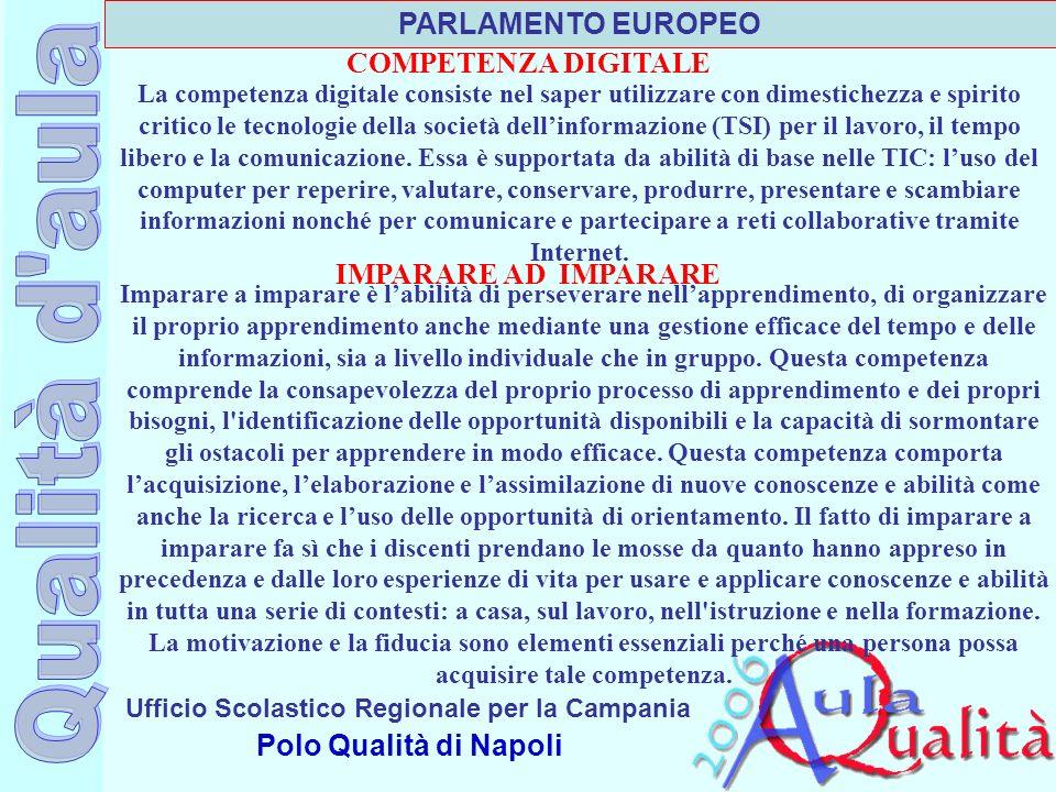 PARLAMENTO EUROPEO COMPETENZA DIGITALE IMPARARE AD IMPARARE