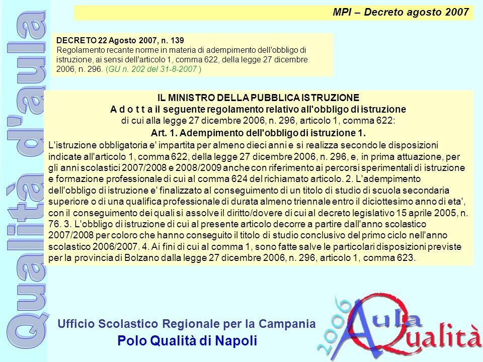 MPI – Decreto agosto 2007 IL MINISTRO DELLA PUBBLICA ISTRUZIONE