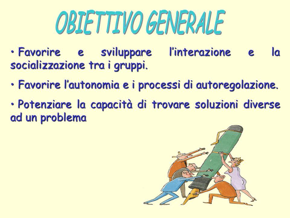 OBIETTIVO GENERALE Favorire e sviluppare l'interazione e la socializzazione tra i gruppi. Favorire l'autonomia e i processi di autoregolazione.
